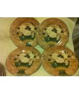 (4)  SAKURA WHITE ROSES SALAD PLATES  1997 WARREN KIMBLE--FREE SHIP--VGC - $32.50