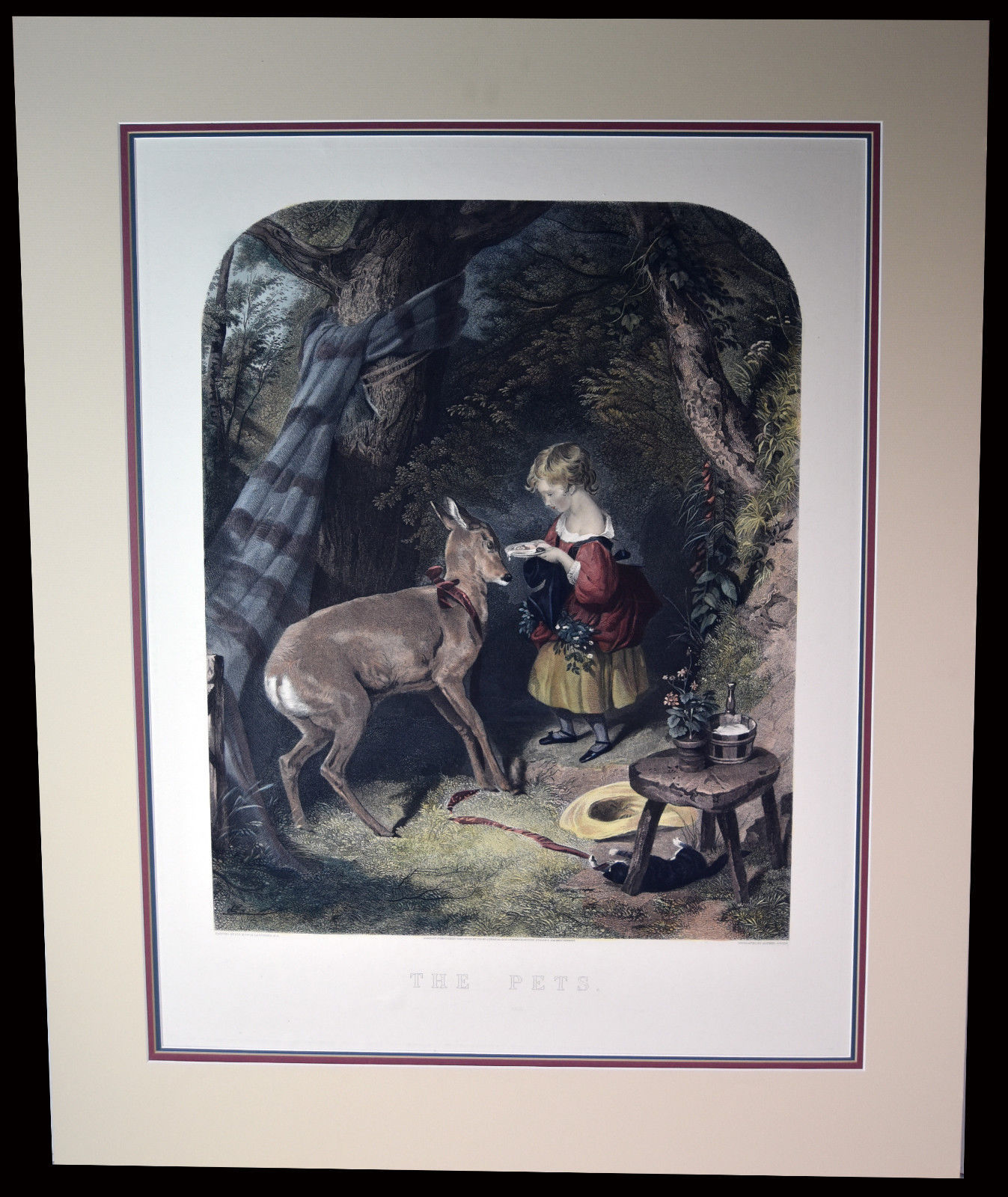 """26"""" Antique Hand Colored Engraving The Pets Lucas Alfred Girl Feeding Baby Deer"""
