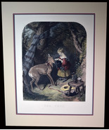 """26"""" Antique Hand Colored Engraving The Pets Lucas Alfred Girl Feeding Ba... - $142.49"""