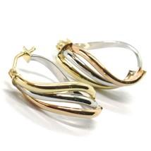 Ohrringe Kreis Gold 750 18K, Gelb Weiss Pink, Ovale , Onda, Wellig, 2.2 CM image 1