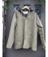 Vintage taupe/ khaki  large brown  vinyl  lined hooded rain jacket.  RON... - $40.00
