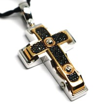 SOLID 18K WHITE & ROSE GOLD CROSS PENDANT 30mm, ROUNDED SQUARES BLACK ZIRCONIA image 1