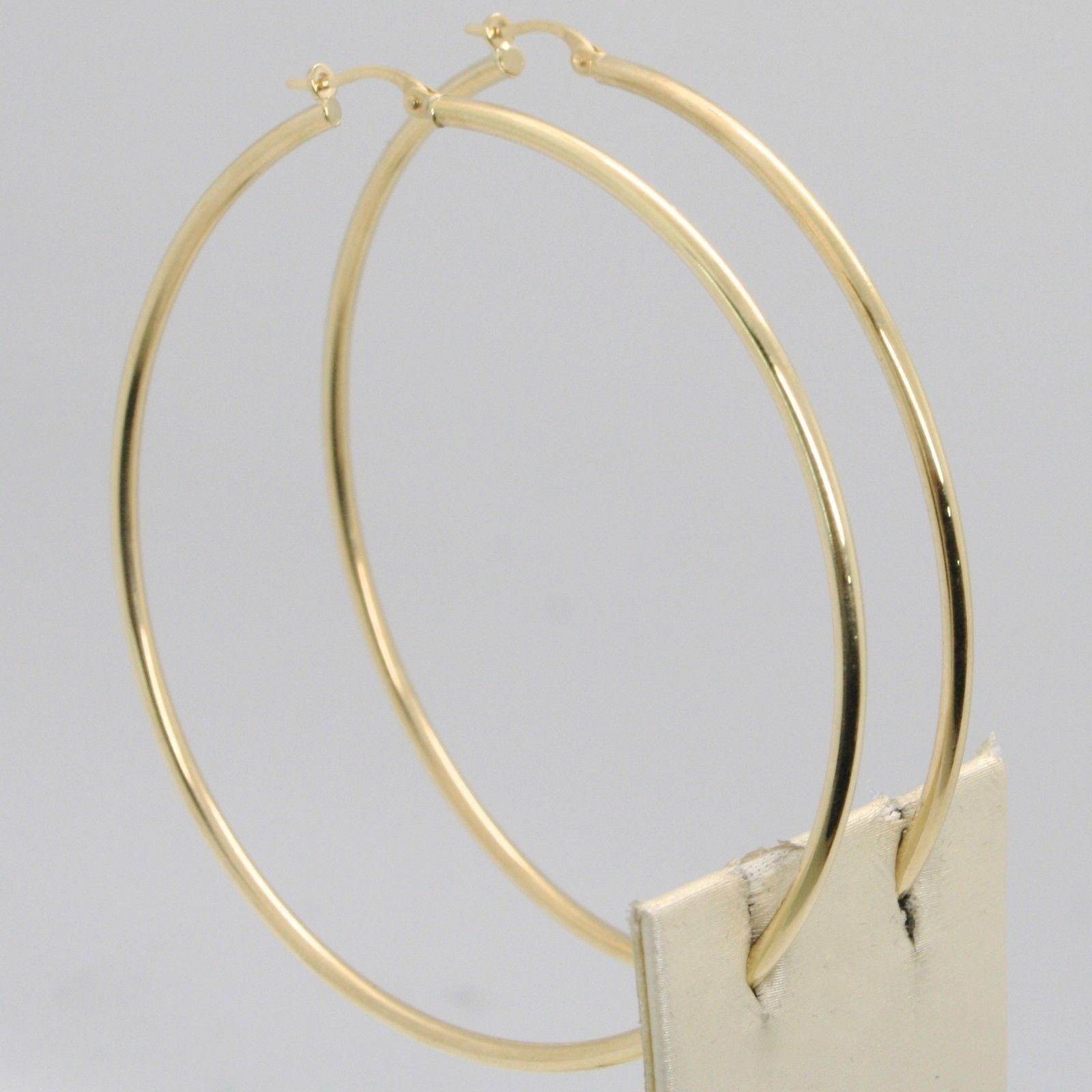 18K YELLOW GOLD ROUND CIRCLE EARRINGS DIAMETER 60 MM, WIDTH 2 MM, MADE IN ITALY