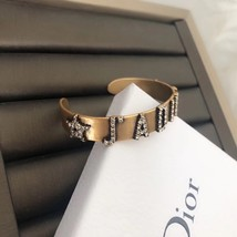 AUTH Christian Dior 2019 J'ADIOR CRYSTAL AGED GOLD BRACELET CUFF BANGLE image 7