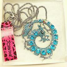 "Betsy Johnson Large Blue Rhinestone ""DRAGON"" Silver Plated Pendant/Brooch - $26.00"