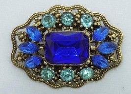 Vintage Brooch Pin Blue Green Faceted Glass Gold Tone Metal Costume Jewelry - $19.79
