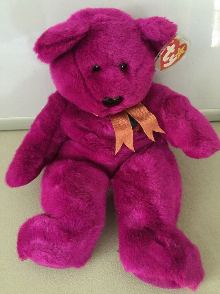 """TY """"Millennium"""" Teddy Bear Beanie Buddy 1999 Stuffed plush"""