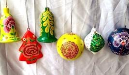 Christmas decoration ornaments paper mache balls bells tree top 6 pc pack - $46.08