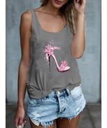 High Heels Flower Print Sleeveless Loose Casual Tank Tops For Women - $14.99