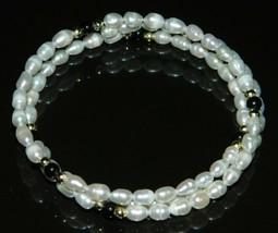 VTG FRESHWATER PEARLS & ONYX Gemstone Adjustable Expandable Bracelet - $19.80
