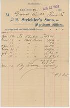 1903 E. Strickler's Sons Billhead Lebanon PA Merchant Millers Pennsylvania - $5.00