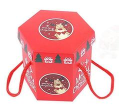 10 Pack Hexagon Christmas Eve Christmas Red Gift Boxes, Red Rope - $15.11