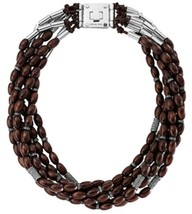 Michael Kors 'Safari Glam' Torsade Necklace Ebony/Silver MKJ1586 BNWT $350 - $99.75