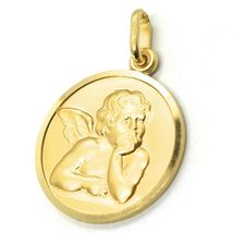 SOLID 18K YELLOW GOLD MEDAL, GUARDIAN ANGEL, 19 mm DIAMETER, VERY DETAILED image 5