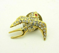Clear Red Rhinestone Bird Gold Tone Vintage Tie Tack - $11.87