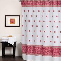 "Fuchsia Greek Key Seashell Patterned Polyester Fabric Shower Curtain 70""... - $14.99"