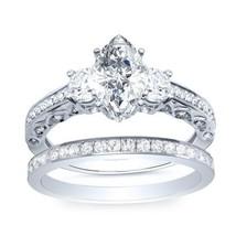 925 Silver White Gold Finish Marquise Shape Diamond Engagement Bridal Ring Set - $86.50