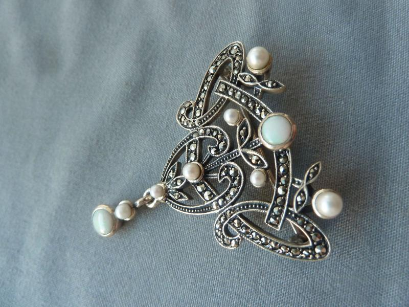 Periods & Styles Antique French Art Nouveau Deco 1930 Silver Marcasite Pearl Brooch Pin Ravishing