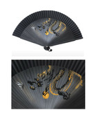 korean black style traditional folding fan  made in korea - $48.39