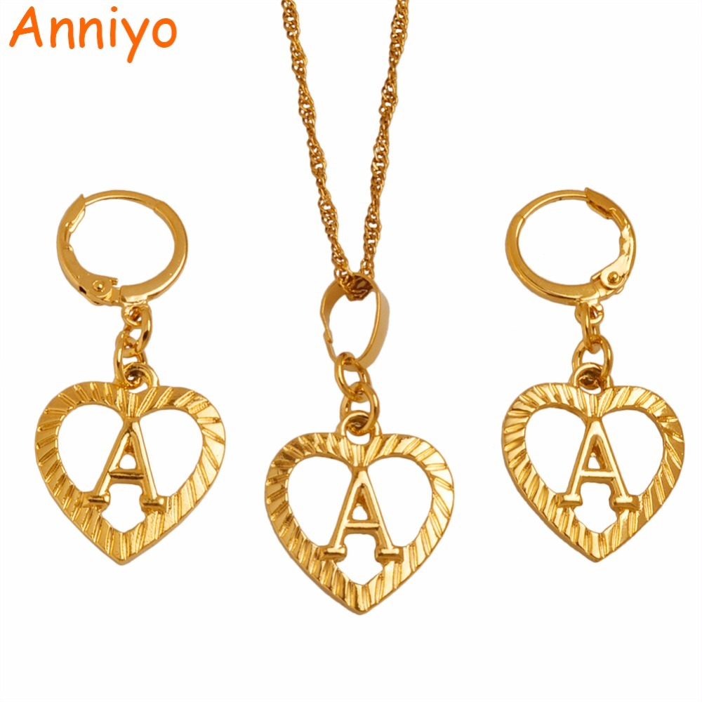 Primary image for A Z Gold Color Heart Letters Necklace Earrings Initial for