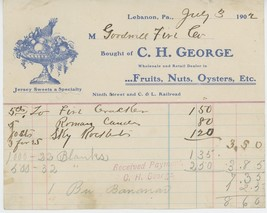 1902 C.H. George Billhead Lebanon PA Fruits Nuts Oysters Jersey Sweets - $10.00