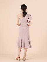 Blush Pink One Shoulder Midi Dress Blush Wedding Bridesmaid Chiffon Dress A Line image 6