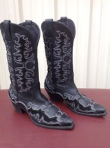 "ARIAT LADIES DANDY 12"" DEERTAN BLACK FASHION COWBOY BOOTS 10010263 8.5B - $129.00"
