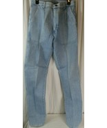 Wrangler Mens Jeans Blue Pleated Front Denim 32x36 7058 STARCHED - $29.69