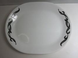Corning Corelle Lyrics White w/ Black Swirl Design Platter Serving Dish - $15.85
