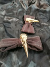 2 Hair Bows steampunk brown material bow with a gold 3d printed crow skull  - $22.14