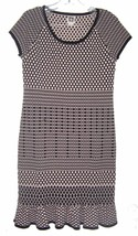 Sz M - Anne Klein Black & Tan Polka Dot Cap Sleeve Sweater Dress w/Ruffl... - $28.49