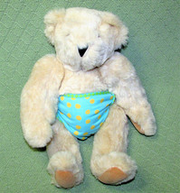 "VERMONT TEDDY BEAR 11"" JOINTED LIGHT TAN BEIGE STUFFED ANIMAL POLKA DOT ... - $19.80"