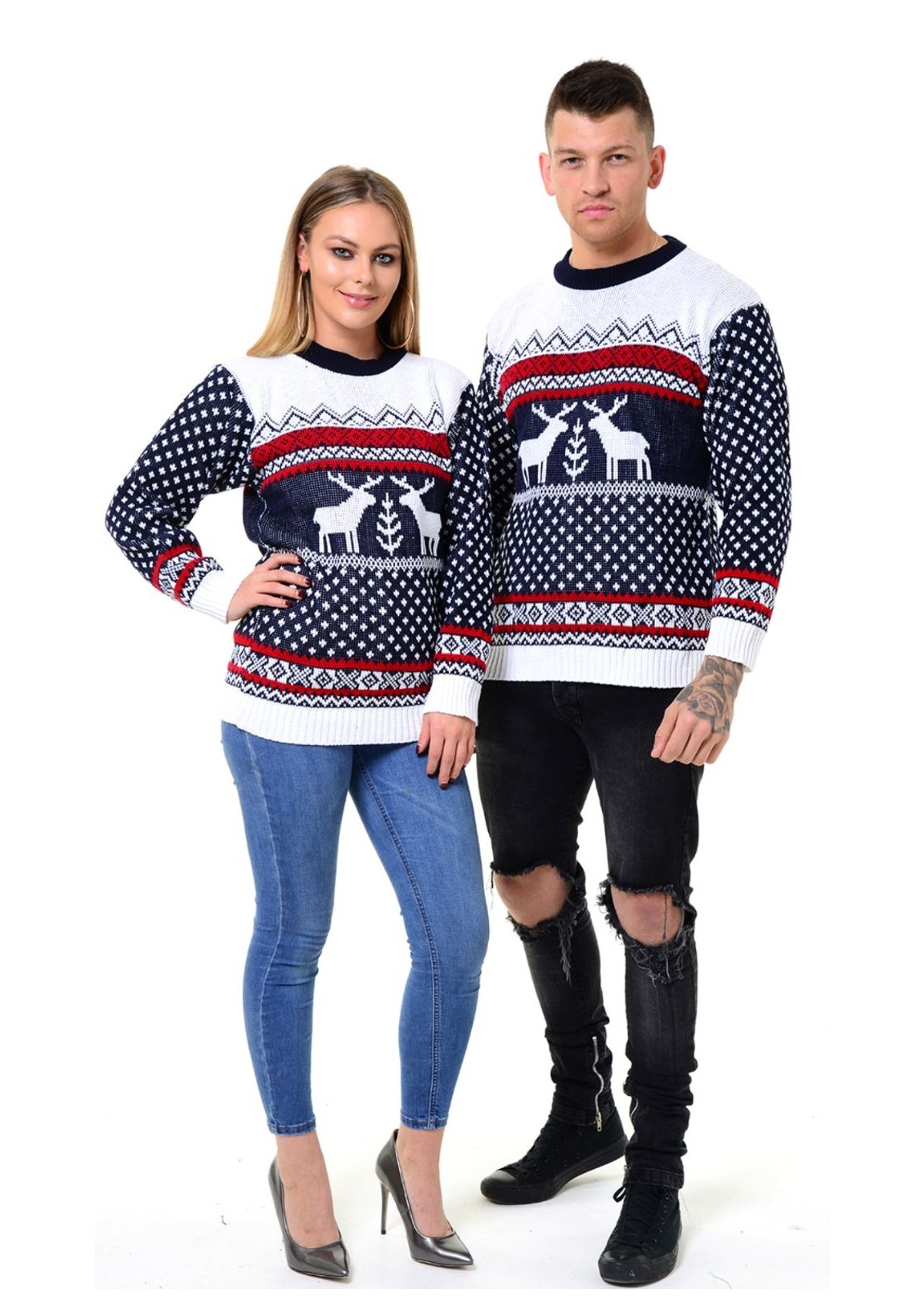 MEN'S XMAS NOVELTY KNITTED CHRISTMAS   REINDEER SWEATER JUMPER for sale  USA