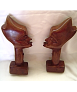 "Vintage African Hand Carved Wooden Head Bust Bookend Statues 12"" Tall - £39.24 GBP"