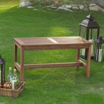 3-Ft Outdoor Backless Garden Bench in Dark Brown Wood Finish - $157.14