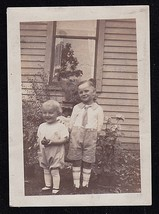 Antique Vintage Photograph Adorable Little Boy and Girl Standing in Yard - $5.35