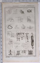 1788 ORIGINAL PRINT MECHANICS LAWS OF MOTION PULLEY PROJECTILES MOTION - $121.31