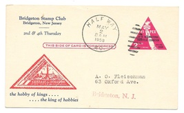 UX44 FIPEX Postal Card Bridgeton NJ Stamp Club Cachet 1958 Half Way MO D... - $4.99