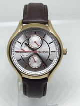 FOSSIL ROSE GOLD TONE,BROWN LEATHER BAND,MULTIFUNCTION WATCH BQ1587IE - $69.99