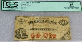 1864 State of Mississippi Obsolete  (50c) Fifty Cents .scarce - $226.71