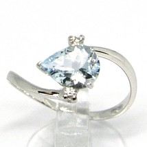 18K WHITE GOLD BAND RING AQUAMARINE 1.00 DROP CUT & DIAMONDS, MADE IN ITALY image 2