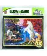 NIB MasterPieces Hidden Images Glow Dream World Unicorn 500 Piece Jigsaw... - $14.99