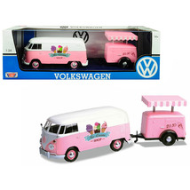Volkswagen T1 Delivery Van with Ice-Cream Trailer Pink and White Ice-Cre... - $47.82
