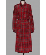 VTG LESLIE FAY Red Tartan Plaid Button-Up Pleated L/S Collar Dress Wms 8... - $39.99