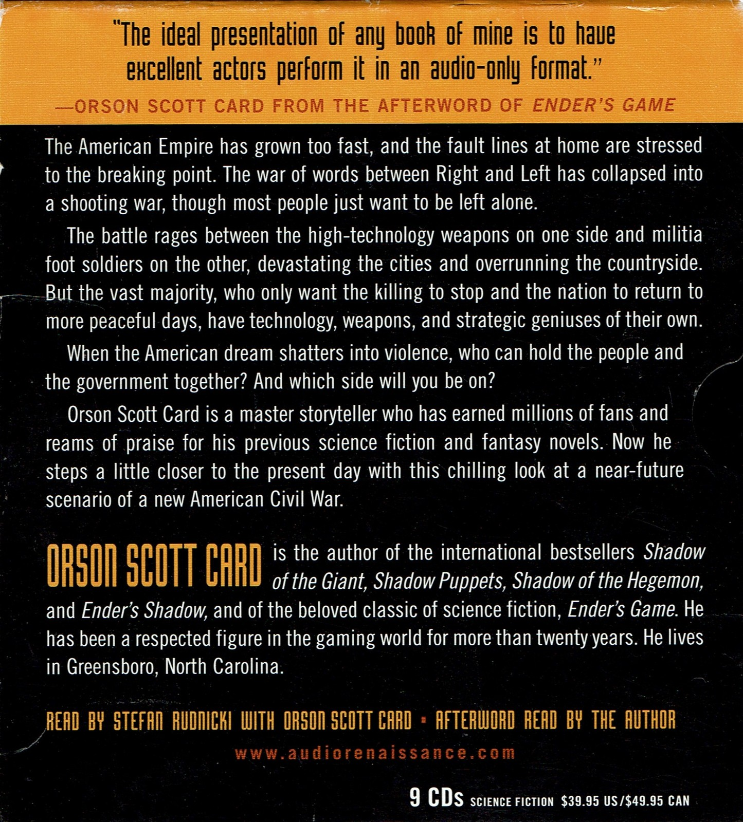 Empire, by Orson Scott Card, Audio CD, Audiobook, Unabridged 9 CD's