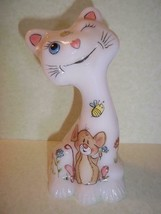 "Fenton Glass 6"" Whimsical Spring Floral Mouse Happy Cat FAGCA '19 Ltd Ed... - $183.82"