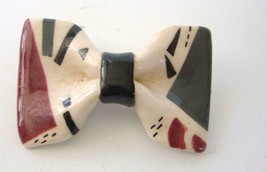 Vintage 80s Ceramic Bow Brooch Pin Artisan Hand Crafted Punk New Wave Me... - $19.79