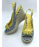 Boden 38 US 7 Navy White Yellow Stripe Beaded Espadrille Wedge Sandal Heels - $29.99