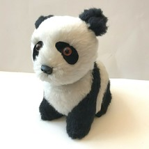 Vtg Panda Teddy Bear Stuffed Animal Plush Toy Orange Glass Eyes Japan - $29.69
