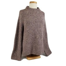 Ann Taylor Ribbed Knit Long Sleeve Sweater Large Mock Neck Gray Maroon C... - $15.99